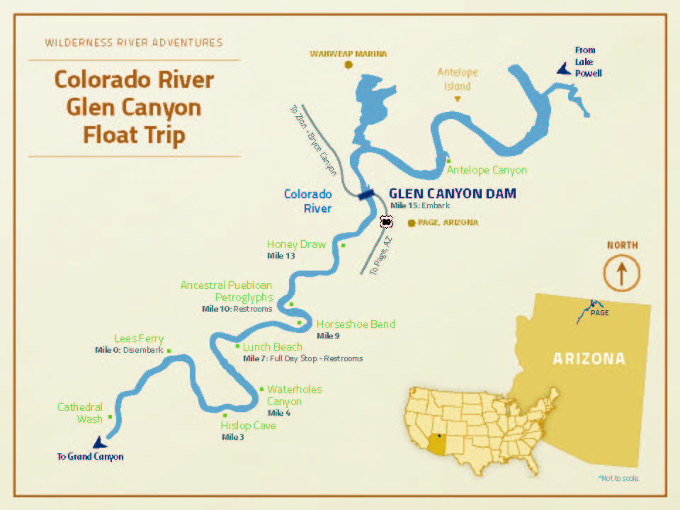 Map Of Arizona Lake Powell.Glen Canyon Float Trip Experience Wilderness River Adventures
